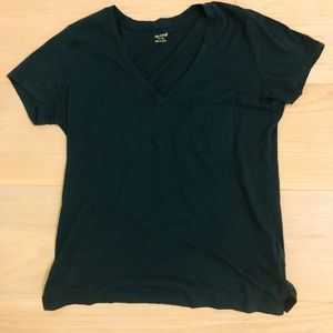 NWT Madewell dark green v neck top